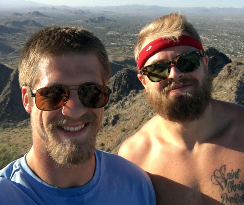 Chris Streveler (left) and Drew Wolitarsky (right) climbing a mountain by Streveler's home in Arizona.