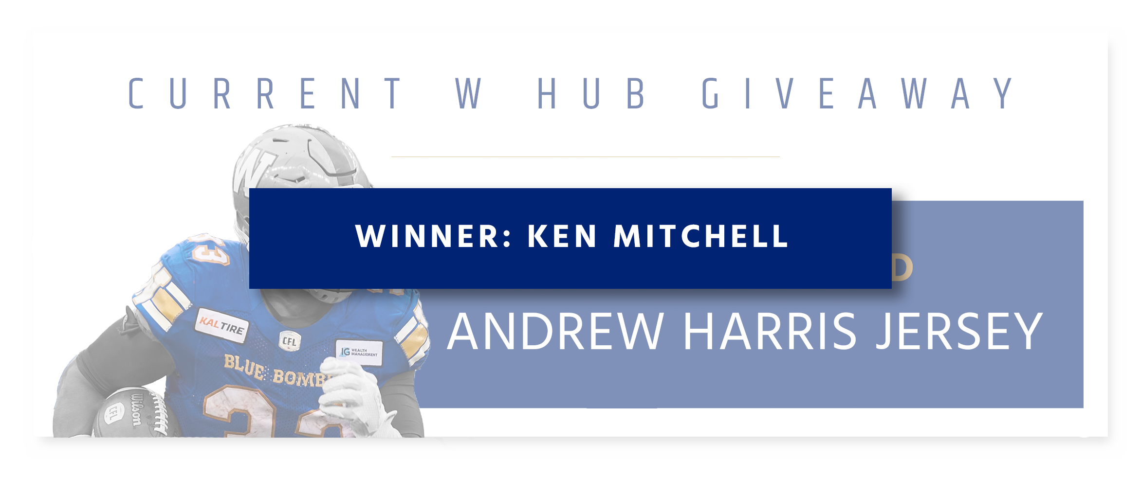 Monthly Giveaway - Autographed Andrew Harris Jersey