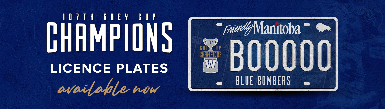 Winnipeg Blue Bombers Grey Cup Licence Plates