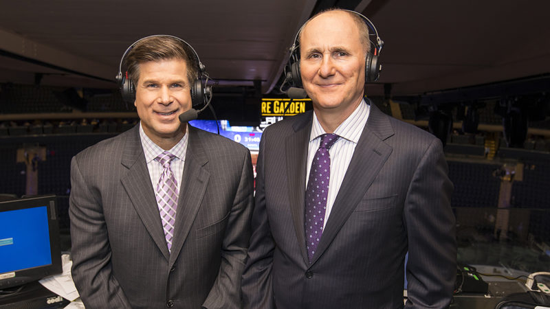 NEW YORK, NY - JANUARY 23:  T.V. Analysts Jim Fox (L) and Chris Cuthbert (R) of the Los Angeles Kings broadcast team pose for a photo prior to the game between the Los Angeles Kings and the New York Rangers at Madison Square Garden on January 23, 2017 in New York City. (Photo by Rebecca Taylor/NHLI via Getty Images)