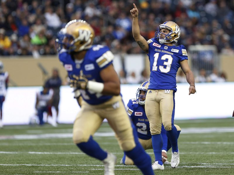 Winnipeg Blue Bombers' Sergio Castillo (13) celebrates a field goal against the Montreal Alouettes during the first half of pre-season CFL action in Winnipeg Wednesday, June 8, 2016. THE CANADIAN PRESS/John Woods