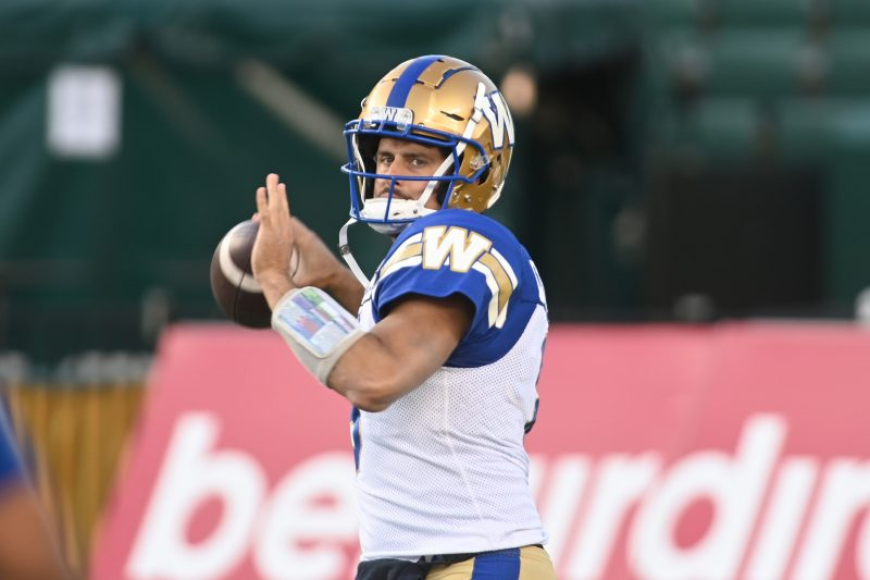 Winnipeg Blue Bombers player #8 (QB) Zach Collaros is seen out on the field duing the pre-gae warmup as the Edmonton Elks take on the Winnipeg Blue Bombers before CFL pre-game action between the Edmonton Elks and the Winnipeg Blue Bombers at the Brick Field located at Commonwealth stadium in Edmonton Friday, October 15, 2021. (CFL PHOTO - Walter Tychnowicz)