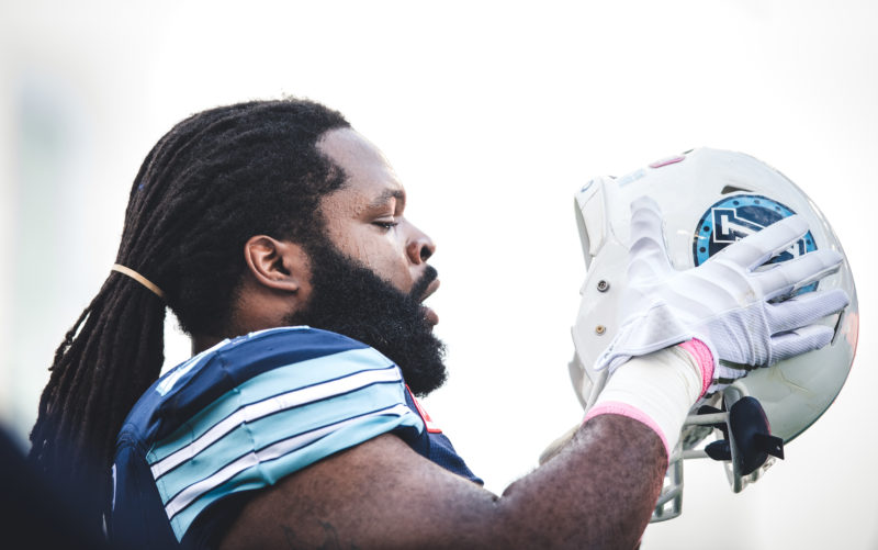 Ken Bishop (97) of the Toronto Argonauts before the game against the Saskatchewan Roughriders at BMO Field in Toronto, ON, Saturday October 7, 2017. (Photo: Johany Jutras)