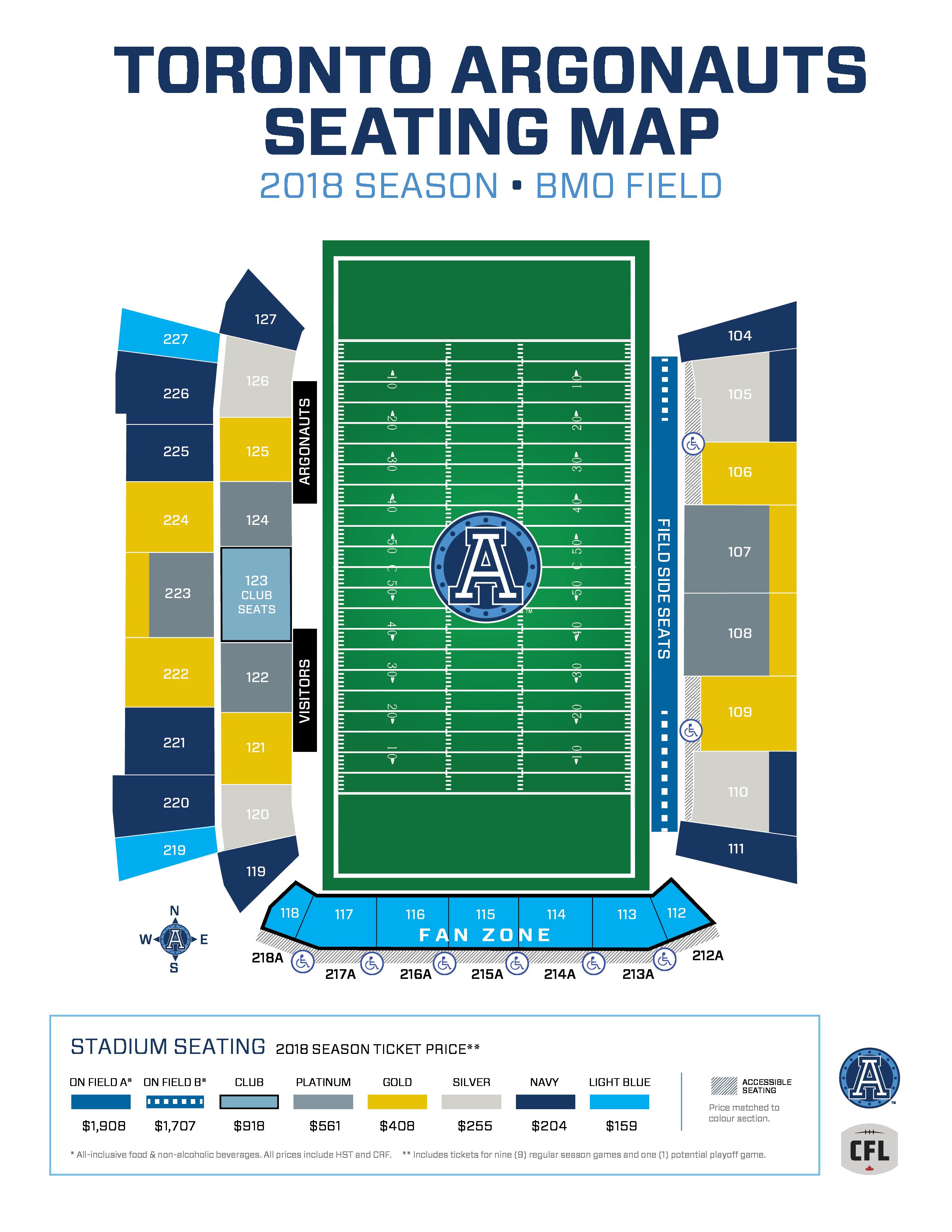Toronto Argonauts Seating Map 2018