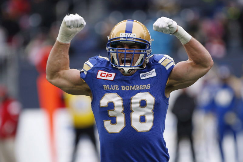 Winnipeg Blue Bombers' Ian Wild (38) celebrates a tackle against the BC Lions during the first half of CFL action in Winnipeg Saturday, October 28, 2017. THE CANADIAN PRESS/John Woods