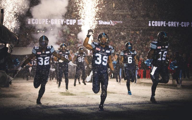James Wilder Jr. (32), Matt Black (39), SJ Green (19), Declan Cross (38), Marcus Ball (6), Cleyon Laing (90) and teammates of the Toronto Argonauts before the 105th Grey Cup game at TD Place Stadium in Ottawa, ON. Sunday, November 26, 2017. (Photo: Johany Jutras)