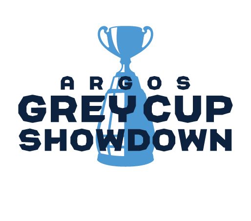 Grey Cup illustration with Argos Grey Cup Showdown written over top