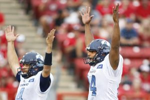 Toronto Argonauts kicker Boris Bede, rt, celebrates, with holder QB McLeod Bethel-Thompson, his winning field goal against the Calgary Stampeders near game end during CFL football action in Calgary on Sat. Aug. 7, 2021. (CFL PHOTO - Larry MacDougal)