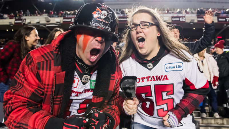 OTTAWA, ON - OCT 19: Ottawa RedBlacks vs the Hamilton Tiger-Cats at TD Place Stadium in Ottawa, ON. Canada on Aug. 31, 2018.  PHOTO: Steve Kingsman/Freestyle Photography