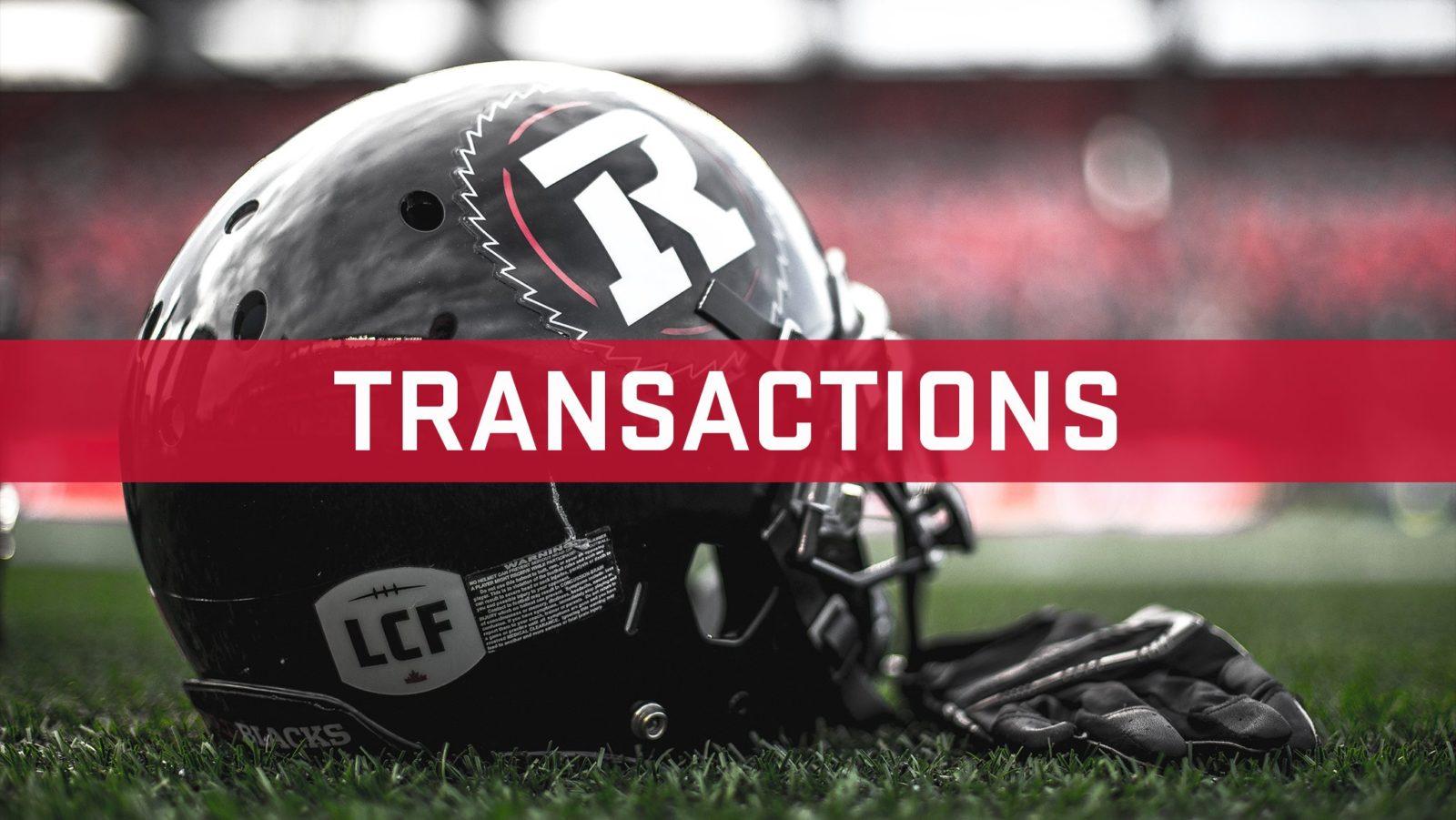 Transactions: June 8, 2019 - Ottawa REDBLACKS