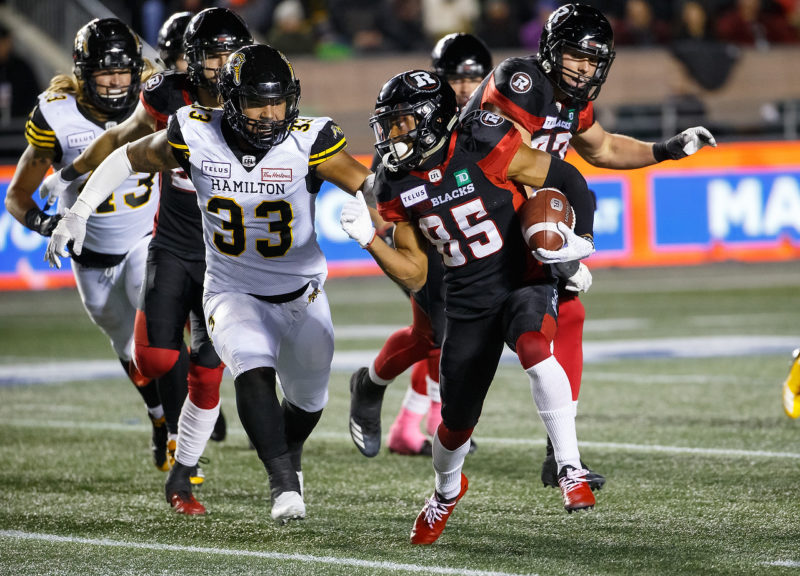 Hamilton Tigercats vs Ottawa REDBLACKS October 19, 2018  PHOTO: Andre Ringuette/Freestyle Photography