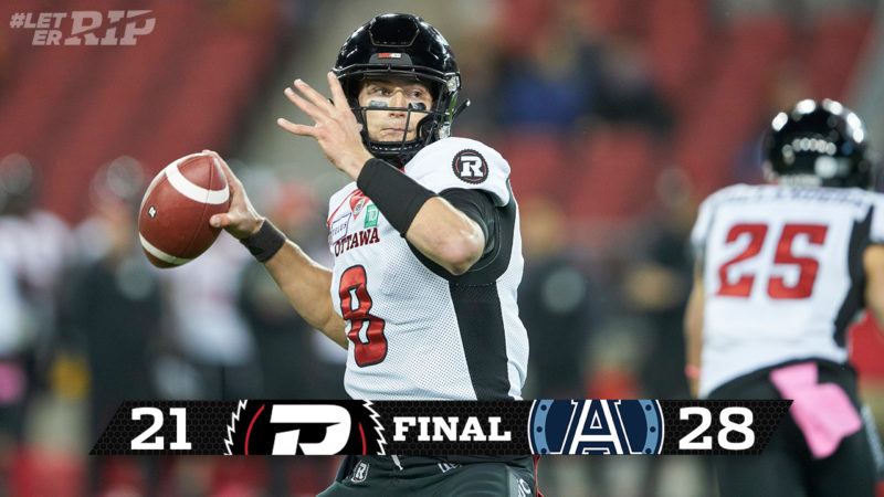 REDBLACKS come up short against Argos