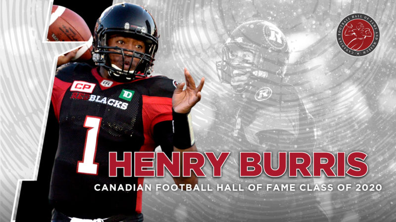 Graphic image Henry Burris promoting his induction into the CFL Hall of Fame