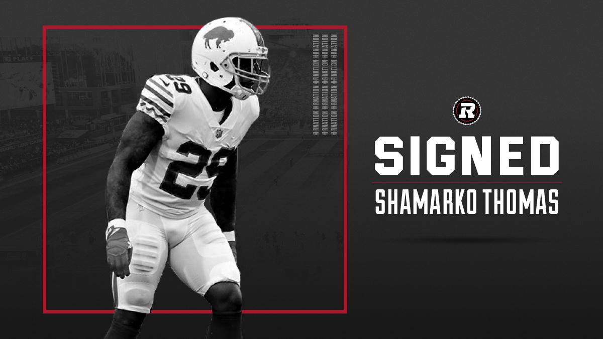 REDBLACKS sign American DB Shamarko Thomas